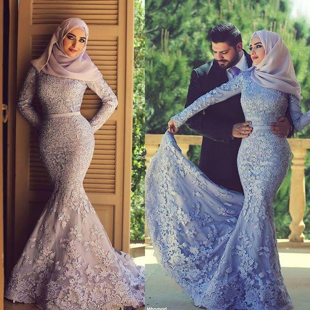 Muslim Hijab Evening Dresses Long Sleeve Lace Mermaid Elegant Purple ...