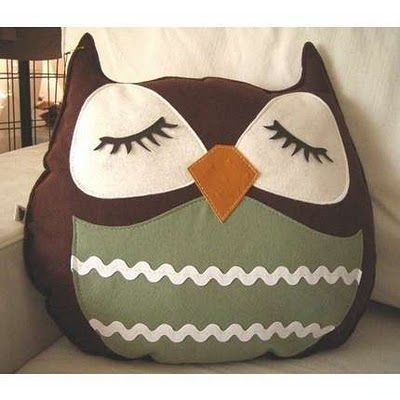 Owl Pillow -- This needs to come live at my house.