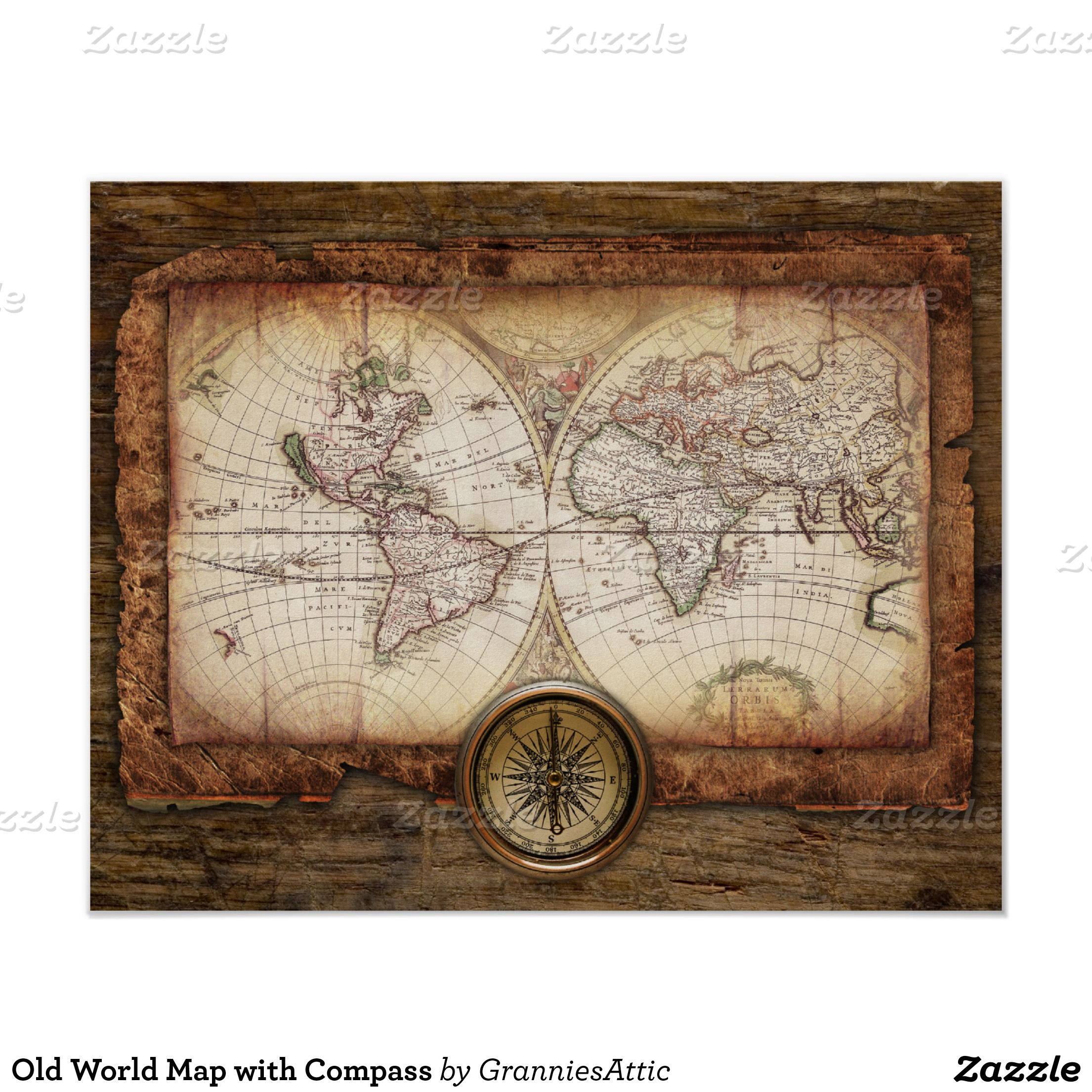 Old World Map with Compass Poster