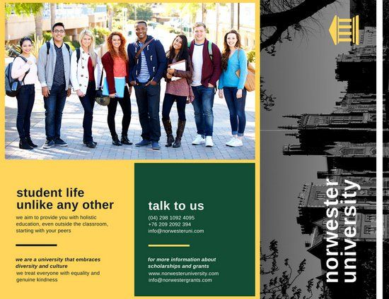 Green Yellow Formal University School Trifold Brochure - College brochure templates