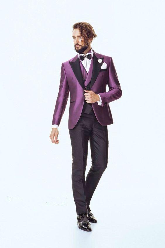 Click to Buy << Latest Coat Pant Designs Purple Satin Italian Men ...