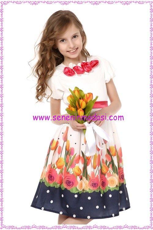 99b5f2abc06a6 7-10 yaş arası kız çocuklarına göre çiçek desenli harika bir bayramlık  elbise #tozlu