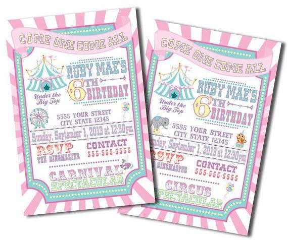 Pink Carnival Invitations, Pastel Circus Invitations, Girl