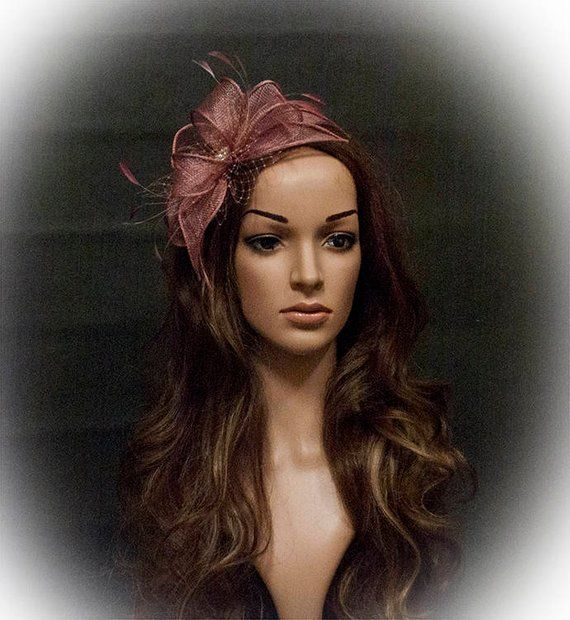 39 Stunning Wedding Veil Headpiece Ideas For Your 2016: Dark Pink Beautiful Fascinator For Your Special Occasions