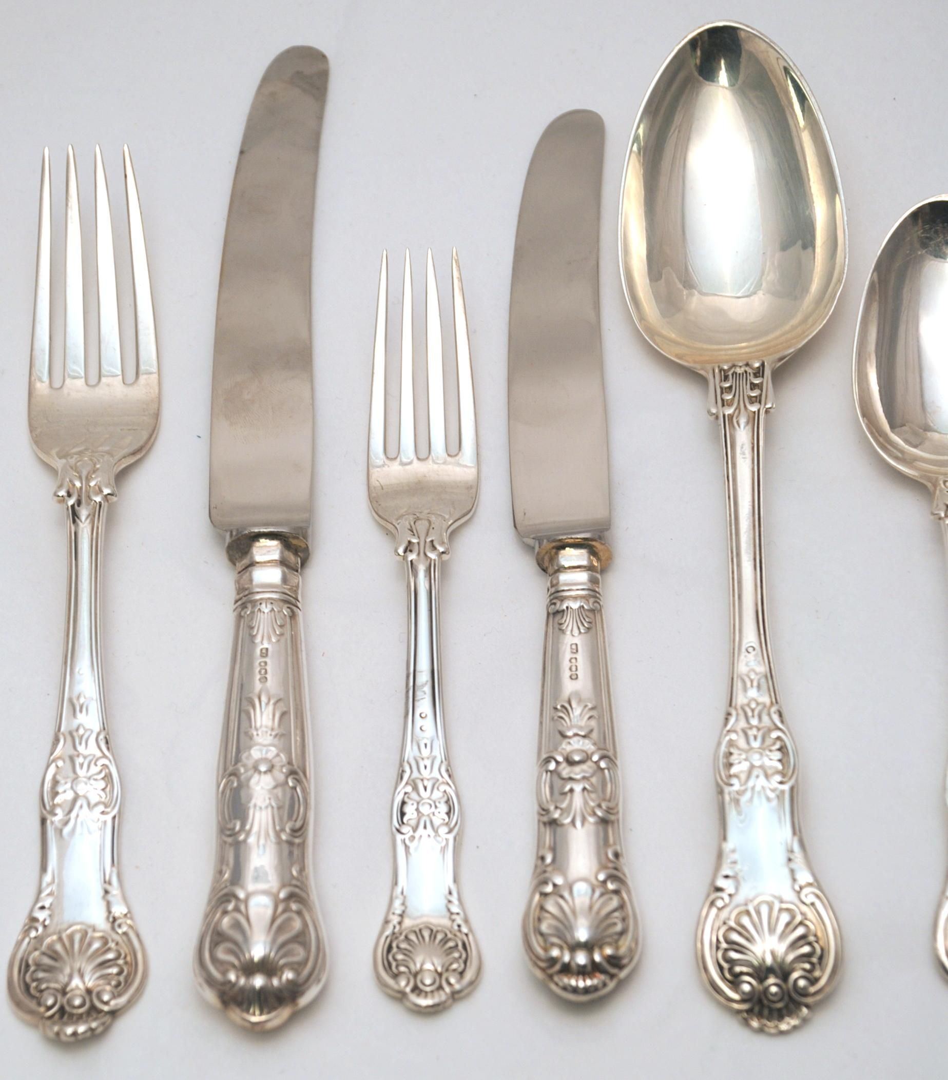 Kings Pattern English Sterling Silver Flatware Set Sterling