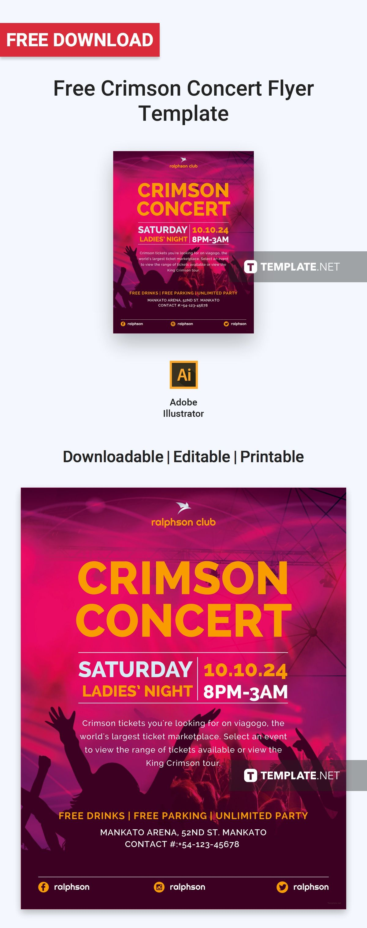 Concert Ticket Template Free Download Impressive Free Crimson Concert Flyer  Concert Flyer Flyer Template And Free .