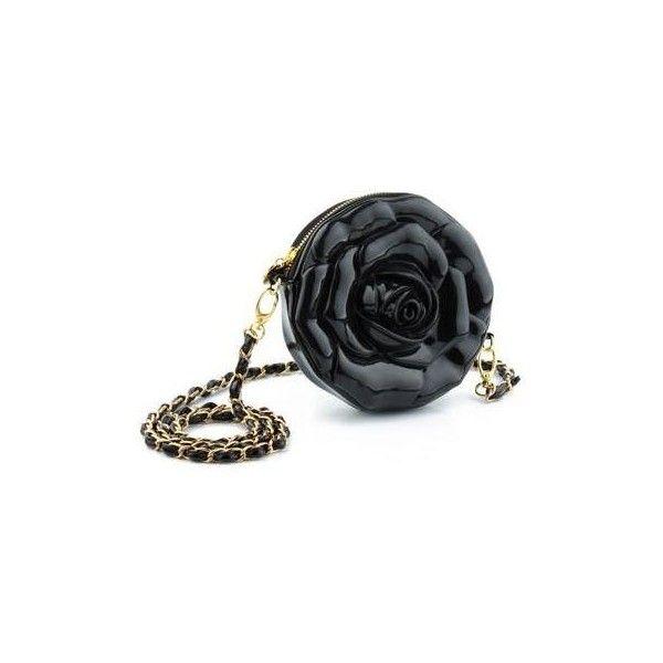 Rose of Ispanhan 3D Handbag Black (585 VEF) ❤ liked on Polyvore featuring bags, handbags, black bag, rose bag, rose purse, imitation purses and rosette bag