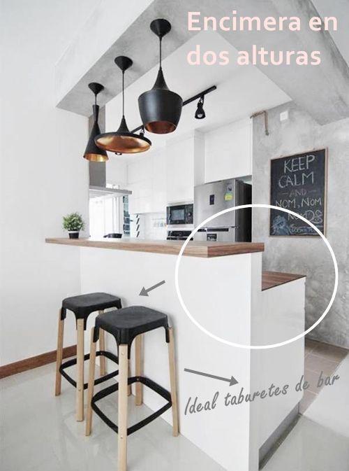 Barras de cocina qué altura es la correcta 2 #cocinasmodernasblancas - cocinas con barra