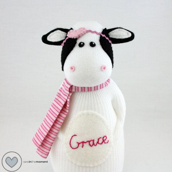 Cow sock doll by Sewinthemoment. Grace is such a sweet cow. She loves dancing through the buttercups and all of the animals on the farm adore her.