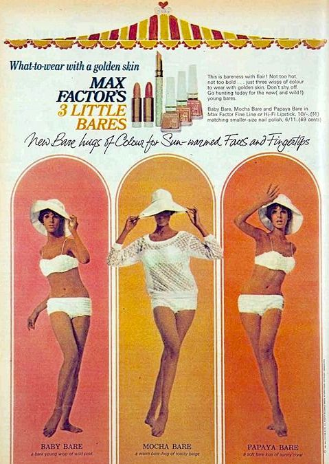 Max Factor '3 Little Bares' Lipstick & Nail Polish Ad