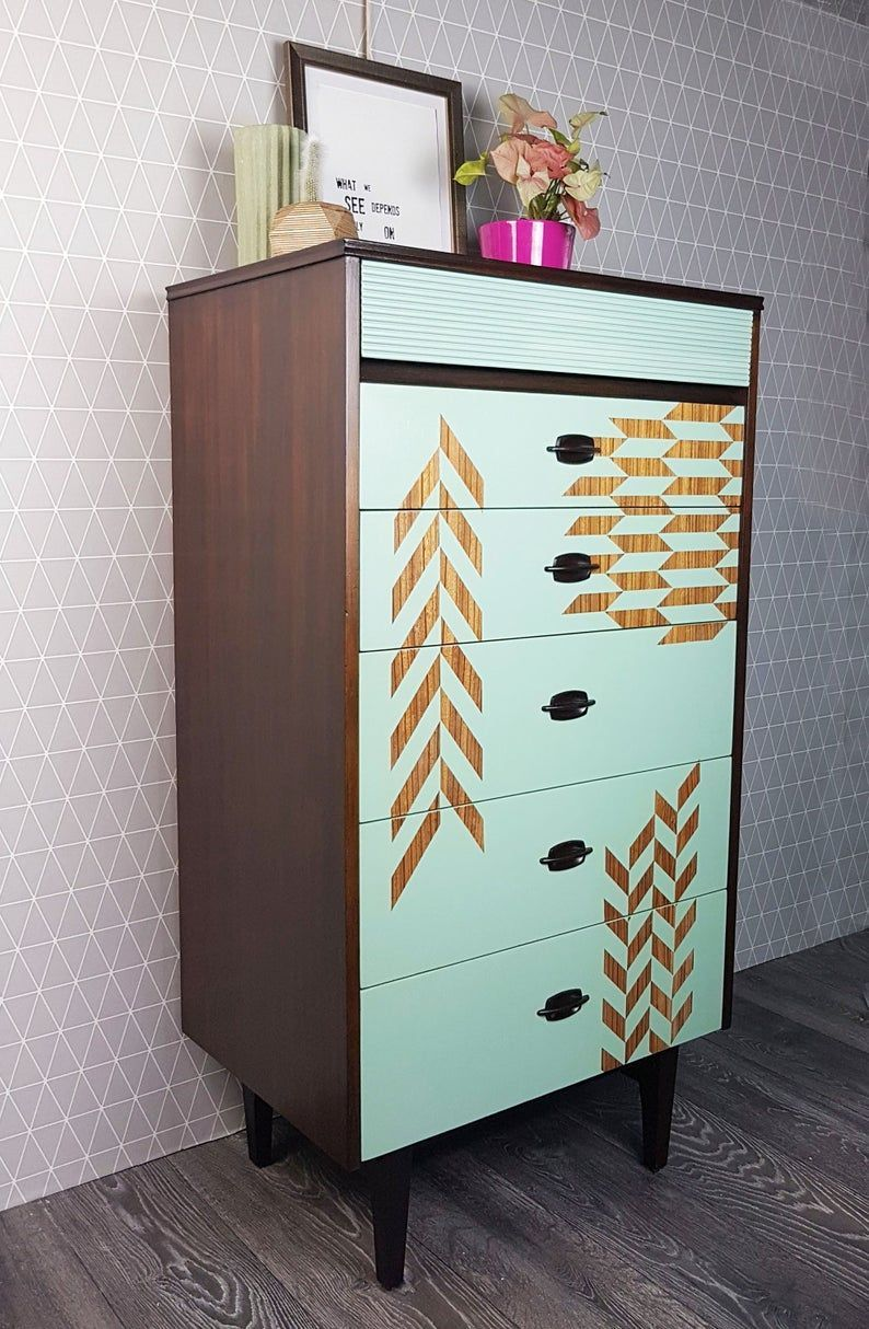 SOLD: Pale green geometric design tall MCM chest of drawers, mid century, vintage furniture, bedroom storage, upcycled, painted furniture#bedroom #century #chest #design #drawers #furniture #geometric #green #mcm #mid #painted #pale #sold #storage #tall #upcycled #vintage