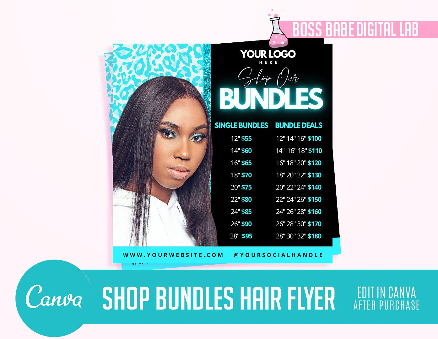 DIY Hair Flyer DIY Hair Flyer Beauty Social Media Template Hair Bundles Instagram Template DIY Fully Stocked Hair Flyer Template