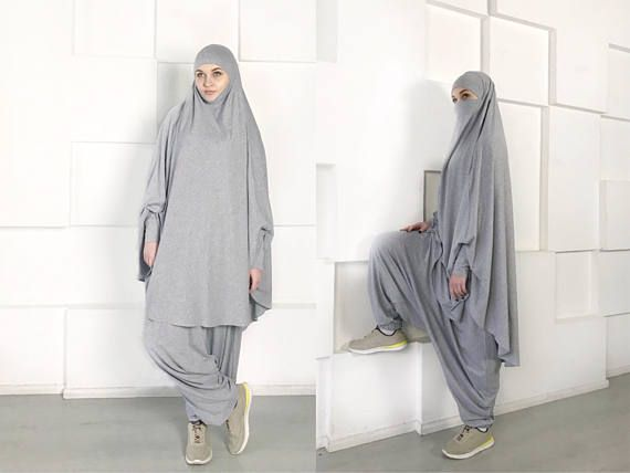 Franch  muslim suit,  Muslimsport suit,  Harem pants, Islamic dress , Long  hijab, Stylish Sport  hijab , Gray  niqab , Boho Pants,  afghani  pants 3ef360ce87e