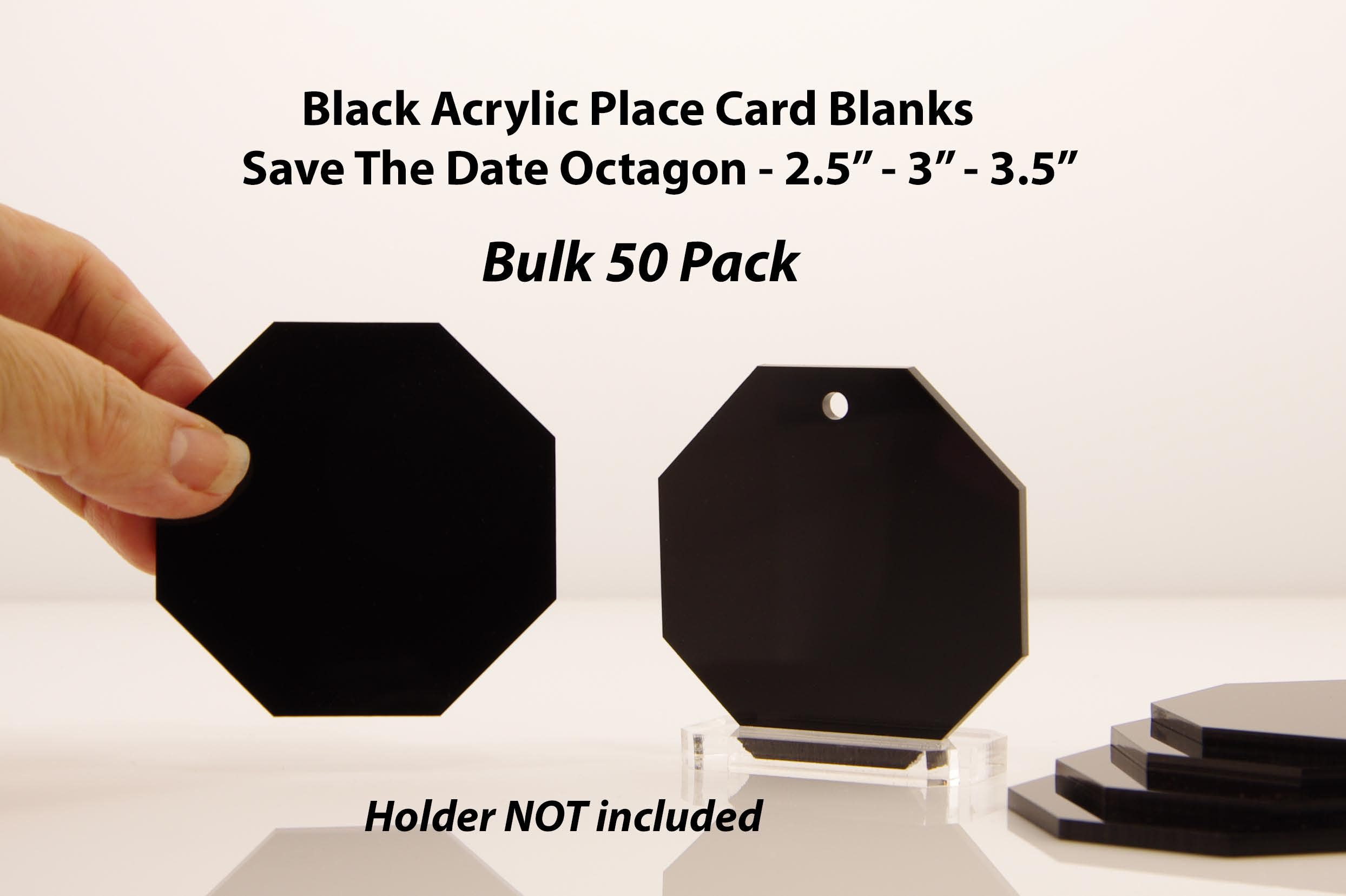50 Blank Acrylic Place Cards Black Gothic Wedding Geometric