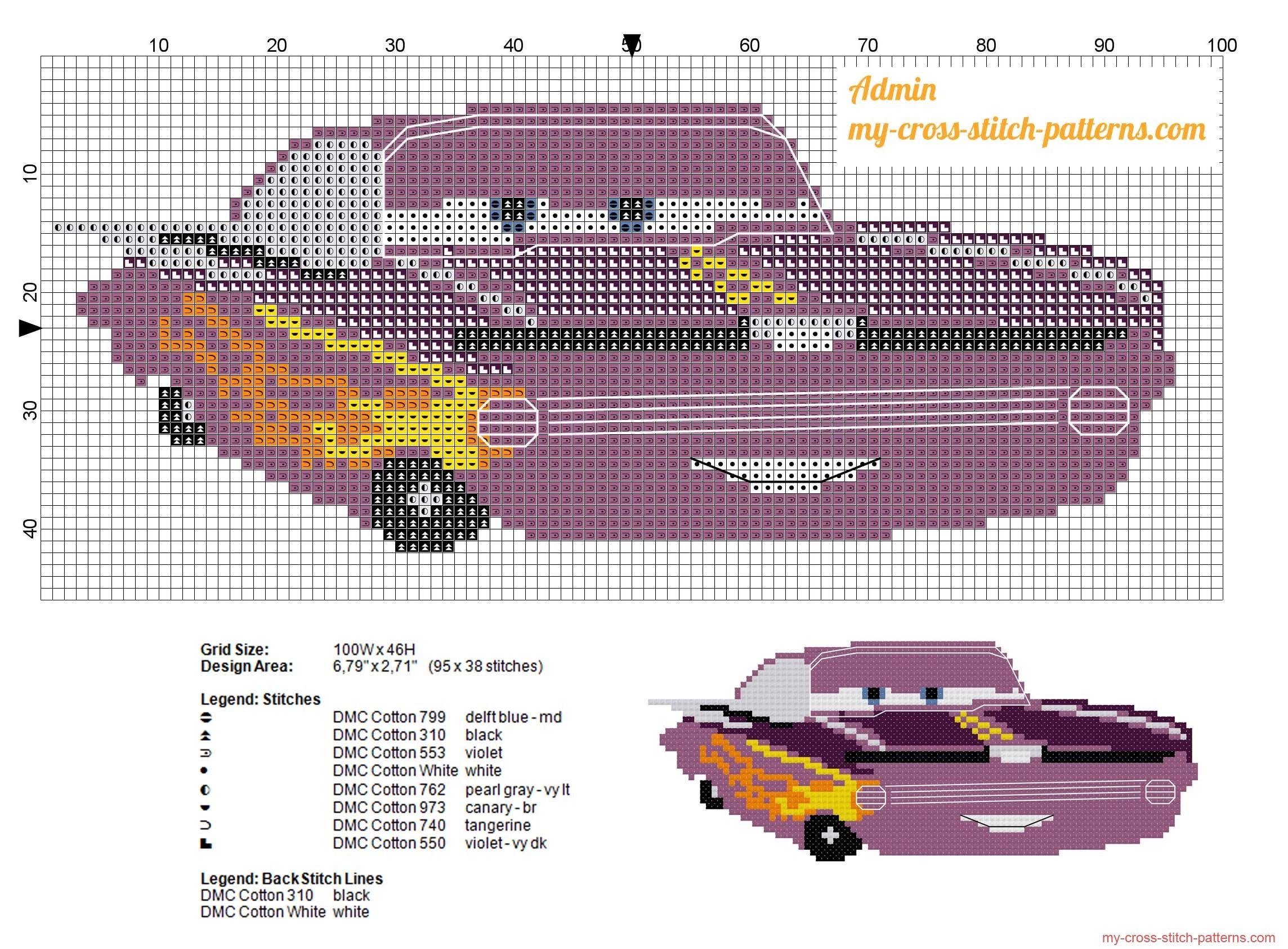 Ramone Disney Cars free cross stitch pattern