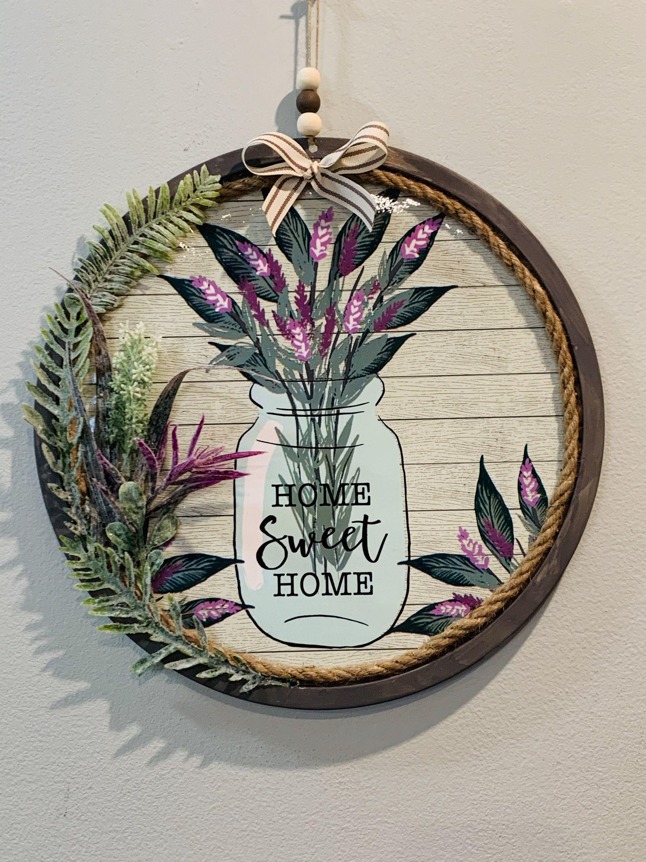 Farmhouse home sweet home mason jar tin wreath home sweet