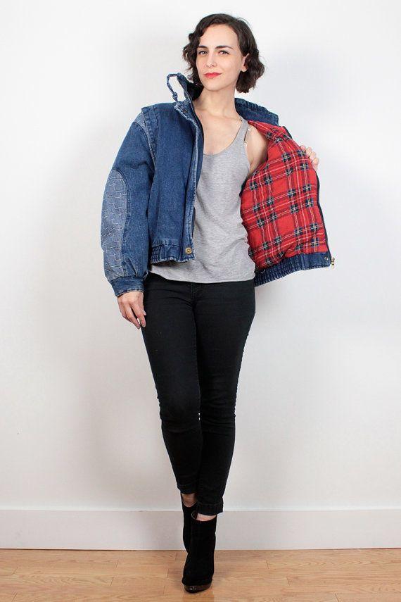 Vintage 80s Bomber Jacket Puffy Denim Jacket Red Plaid Flannel Shirt