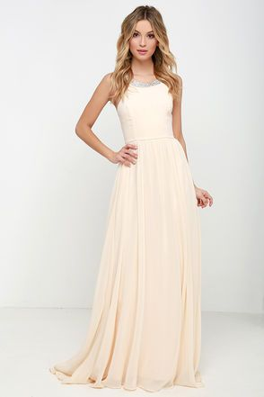 61a90a57400 Bring smiles to any party when you arrive in the Cheerful Pale Peach Maxi  Dress! A rounded neckline (with hidden side clasps) and modified racerback  are ...