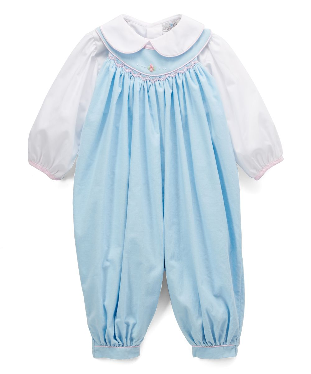 0cabf6e30 Blue Smocked Overalls & White Peter Pan Button-Up - Infant ...