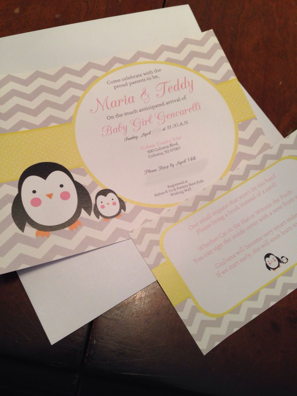 Penguin Baby Shower Invitations, my sister\'a baby shower. #etsy ...