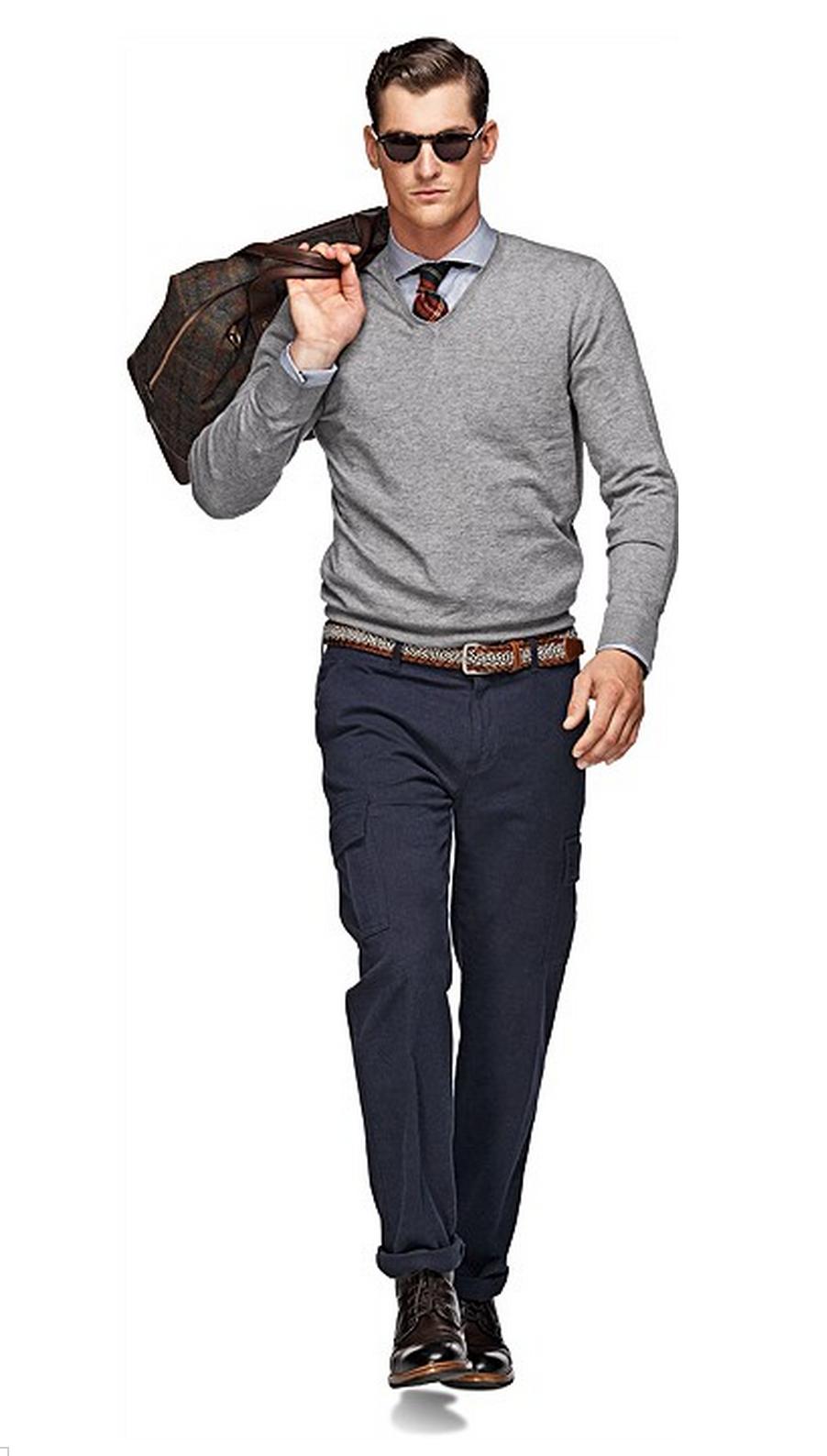Light Grey V Neck Man Outfit Mens Fashion Fashion Menswear