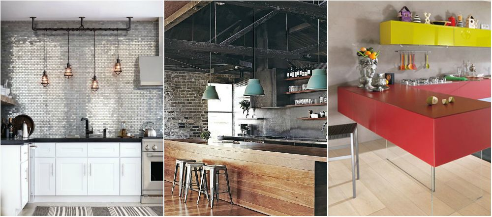 Dark Grey Brick Ceiling Industrial Style KitchenIndustrial Interior DesignIndustrial