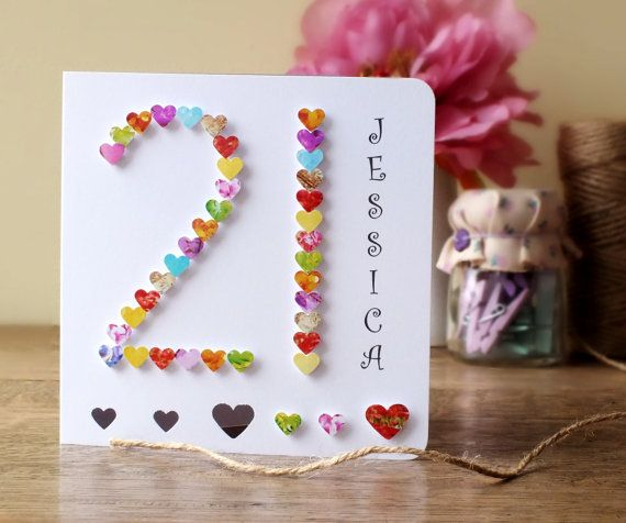 Paper quilling handmade 21st birthday card