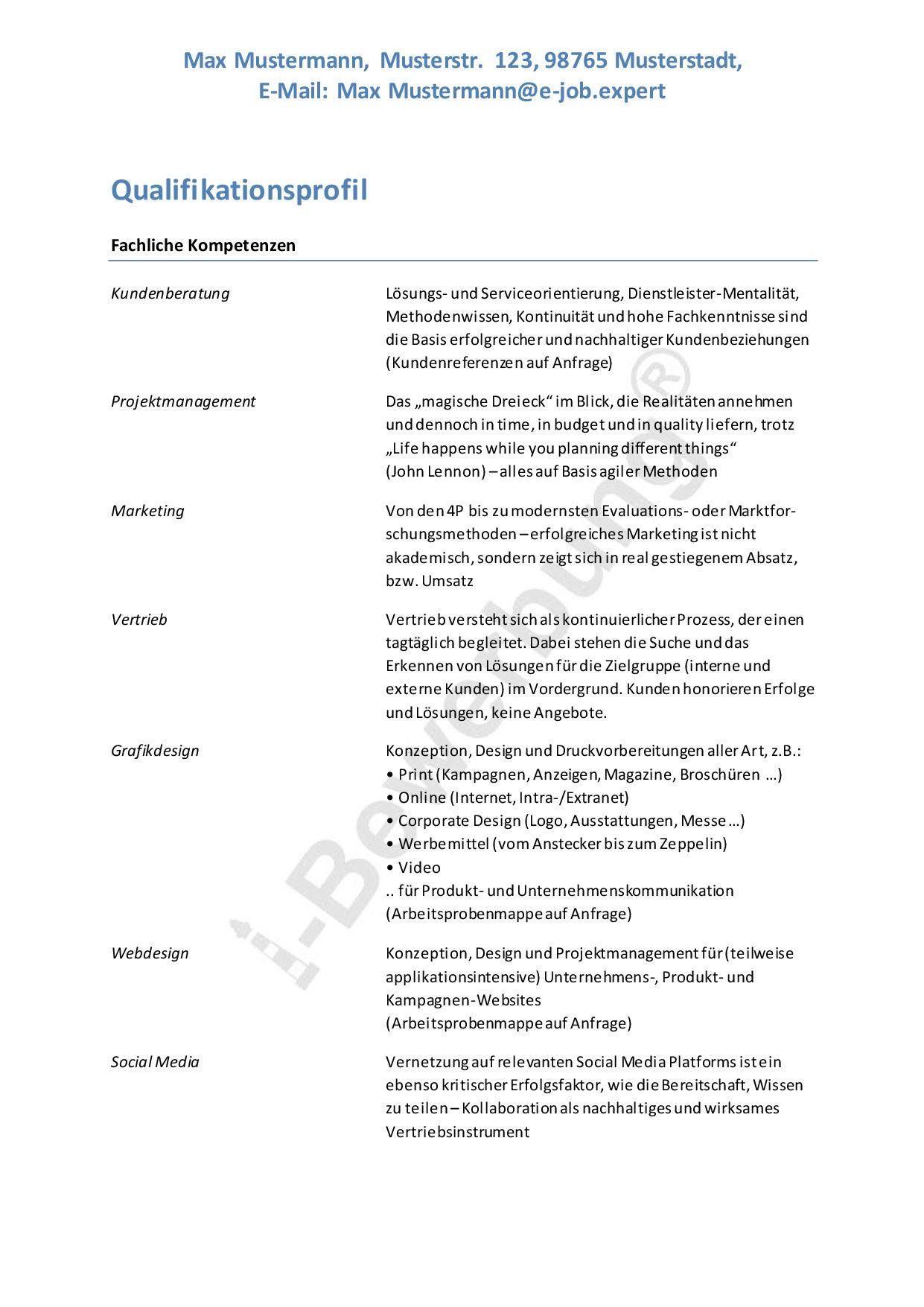 Muster Eines Qualifikationsprofils Fur Eine Initiativbewerbung Schulnoten Bewerbung Kundenbeziehung