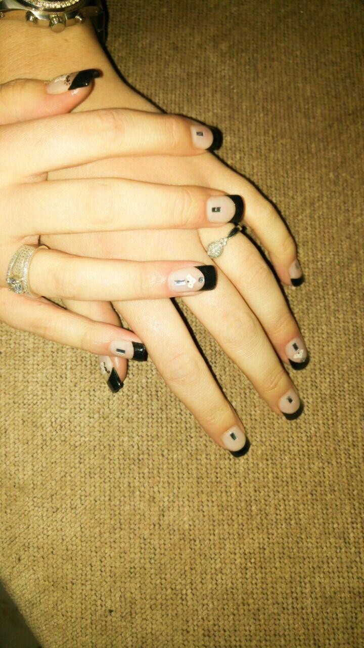 Fierce brave strong black tips acrylic nail art bling bling