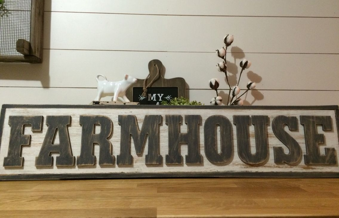 Diy farmhouse sign using letters and chalk paint from