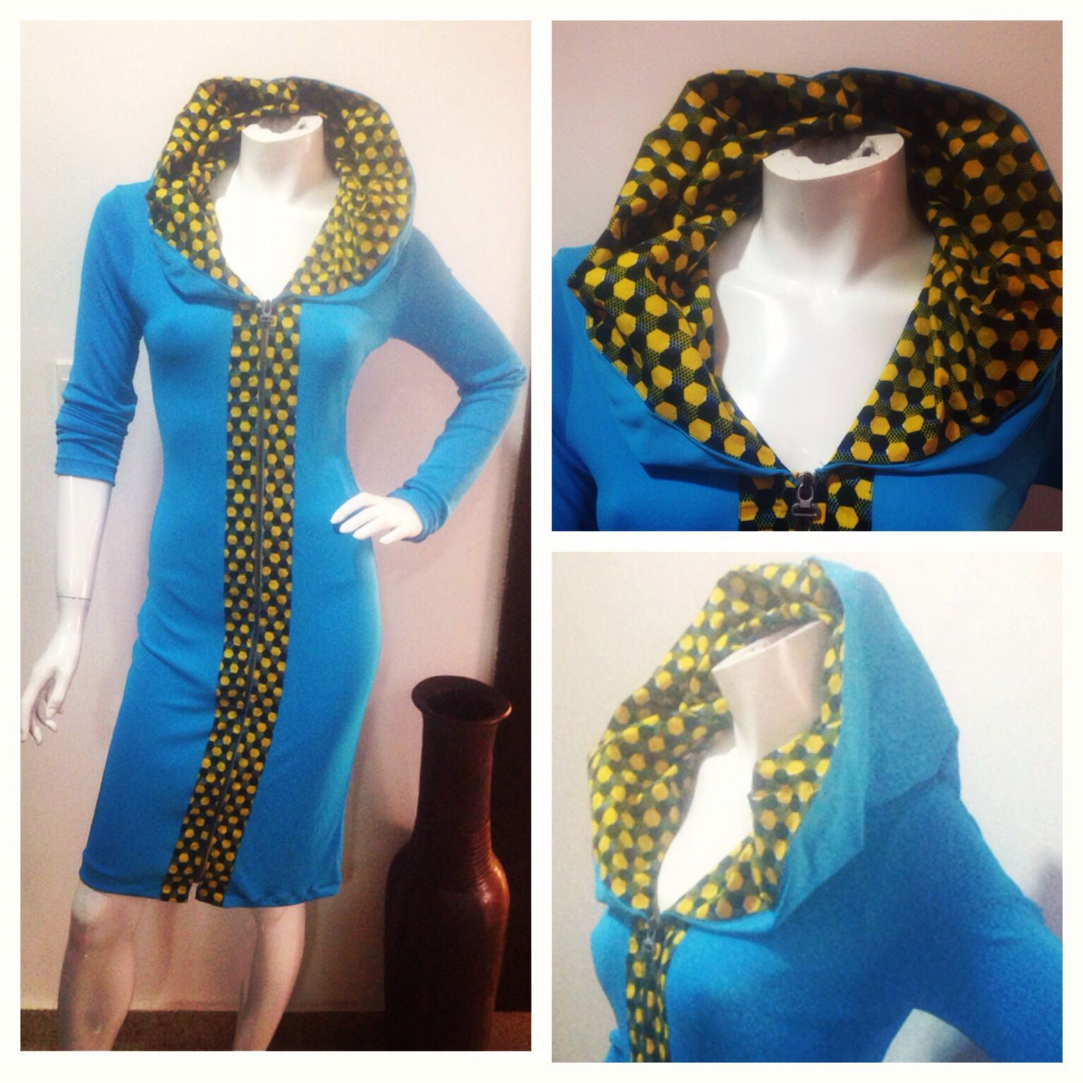 Hooded jersey n ankara (african print) dress