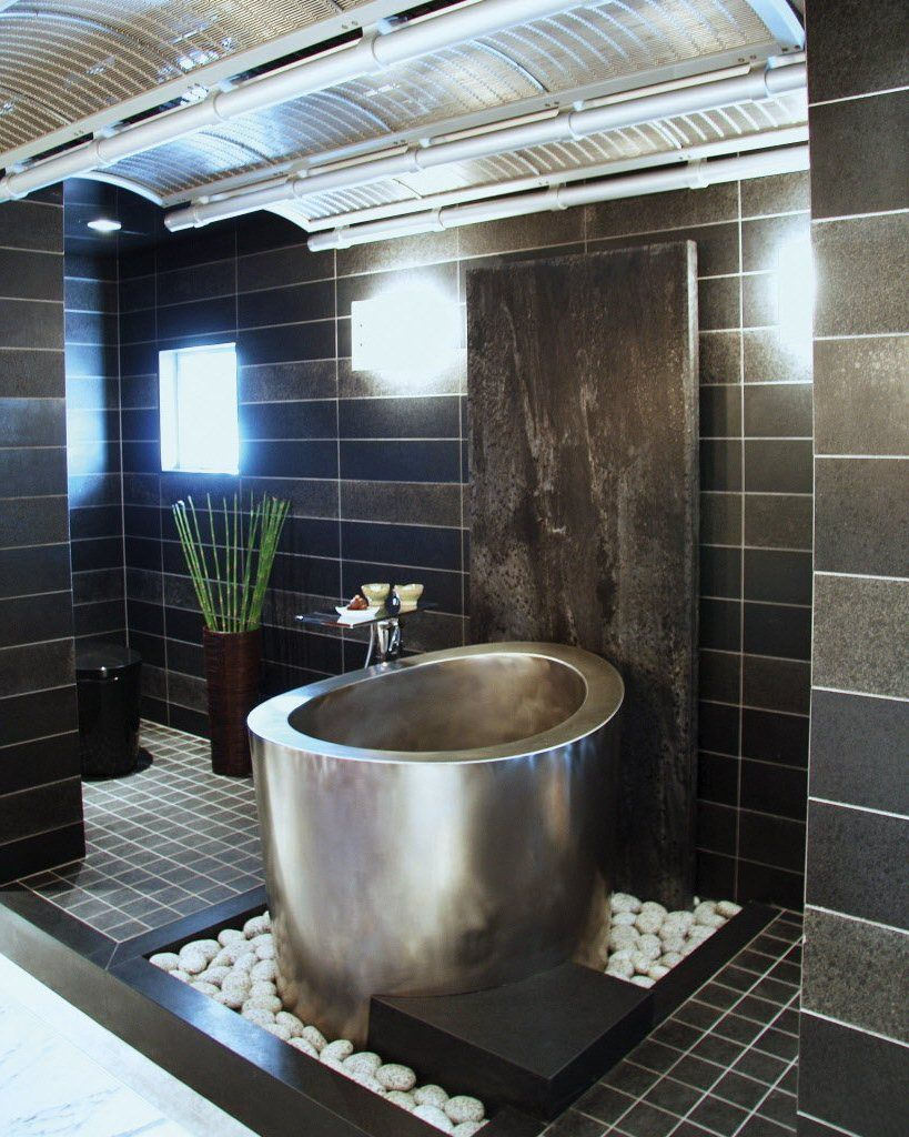 Japanese Soaking Tub In Elegant Black And Grey Bathroom