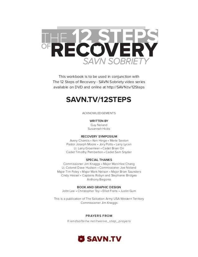 The 12 Steps Of Recovery Savn Sobriety Workbook Aa Pinterest
