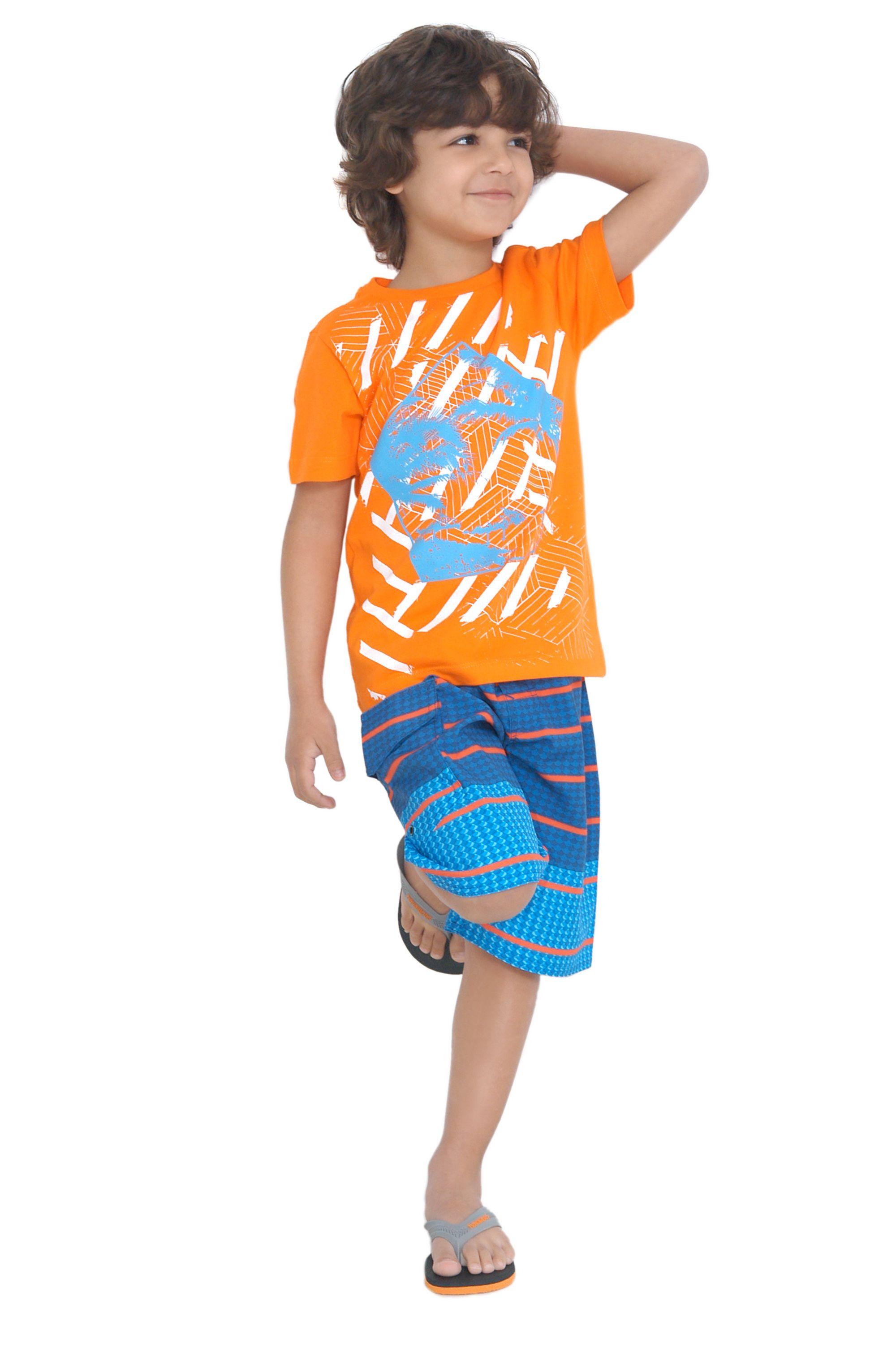Camiseta de meia malha estampada. Referência: 1280 Bermuda d'água estampada com cós em elástico. Referência: 1287 Bermuda d'água estampada com cós com martingale. Referência: 1281B