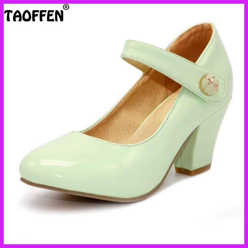 0e6beed9a03 Shoes women · TAOFFEN 8 Colors Size 32-48 Lady High Heels Pumps Round Toe  Patent Leather Thick