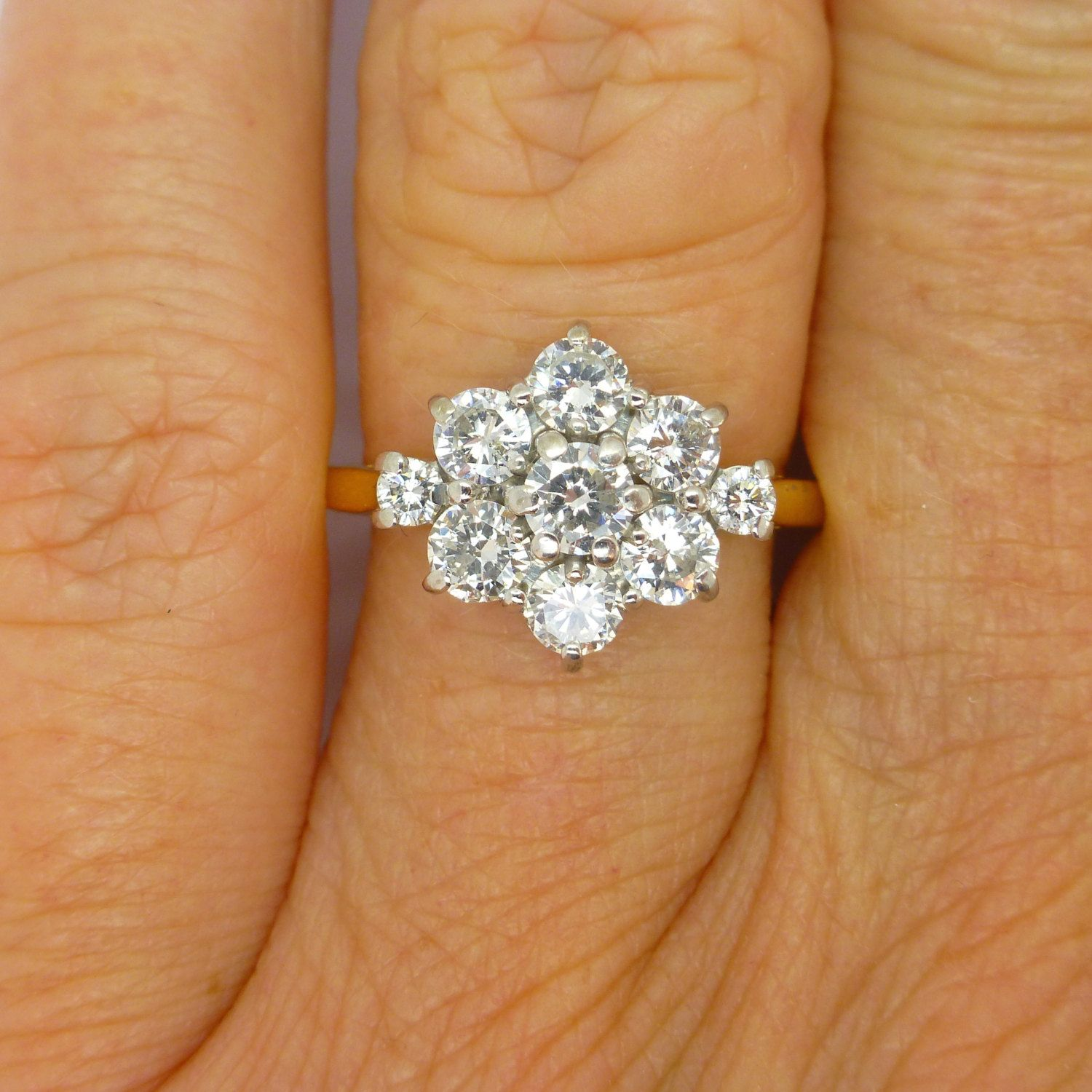 Vintage Diamond Cluster Engagement Ring 18ct18k English Estate Daisy Halo  Flower Dinner Or Cocktail Ring 110tcw