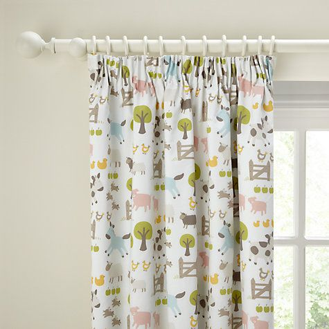 John Lewis Farmyard Blackout Lined Pencil Pleat Curtains