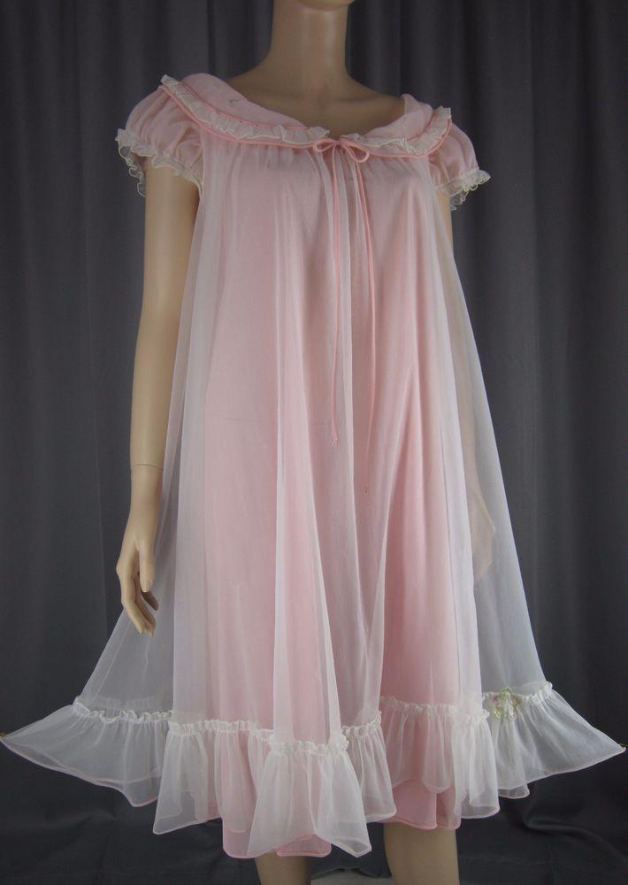 e30d568754 Vintage Pink Sheer Chiffon Overlay Nightgown Babydoll Nightie Ruffles XL  XXL
