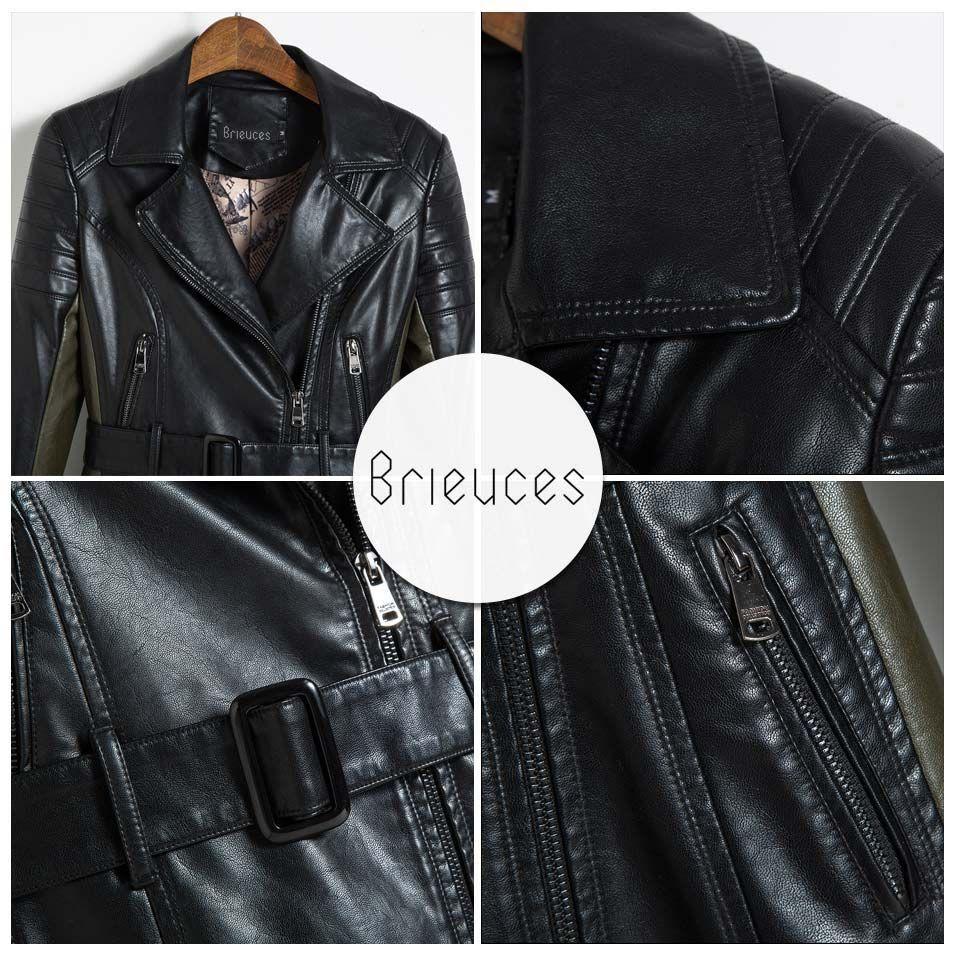 Brieuces Medium Long Leather Jacket Women 2017 New Autumn Plus Size 5xl Black Army Green Spliced Sashes In 2020 Leather Coat Womens Leather Jackets Women Leather Coat [ 955 x 955 Pixel ]