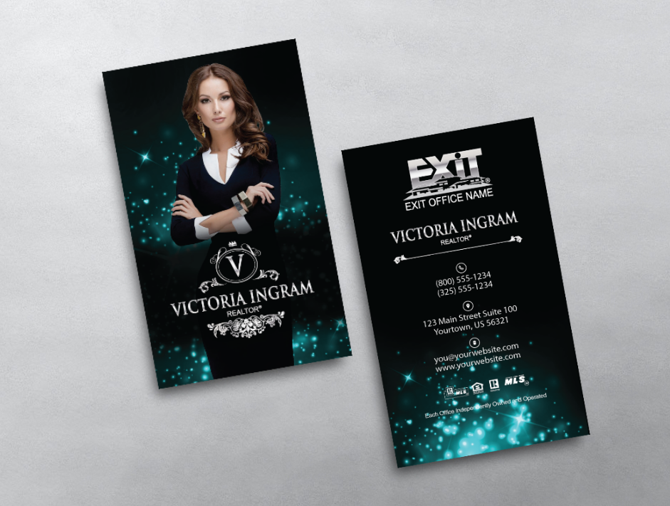 This luxurious Exit Realty business card template design features ...