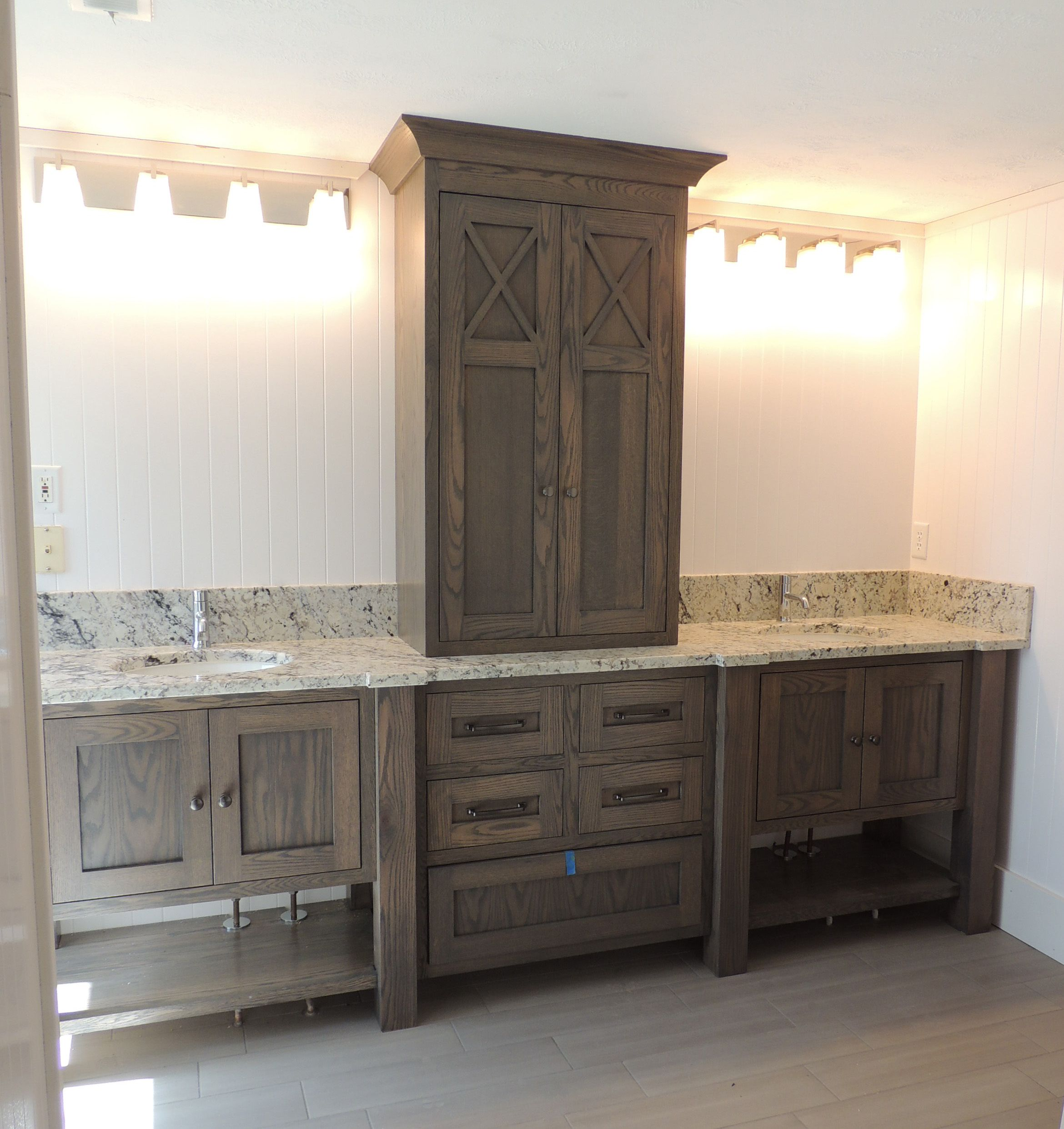 Furniture style bathroom vanity in white oak with grey brown stain my designs pinterest White bathroom vanity cabinets