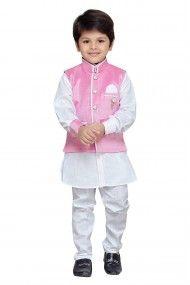 Cotton Party Wear Kurta Pyjama Set In Pink Colour Indian Baby Summer Kids Boys