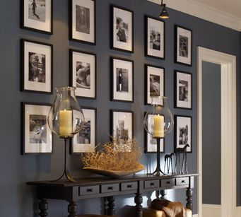 Love The Paint Color And Photo Wall Its Benjamin Moore Van Courtland Blue