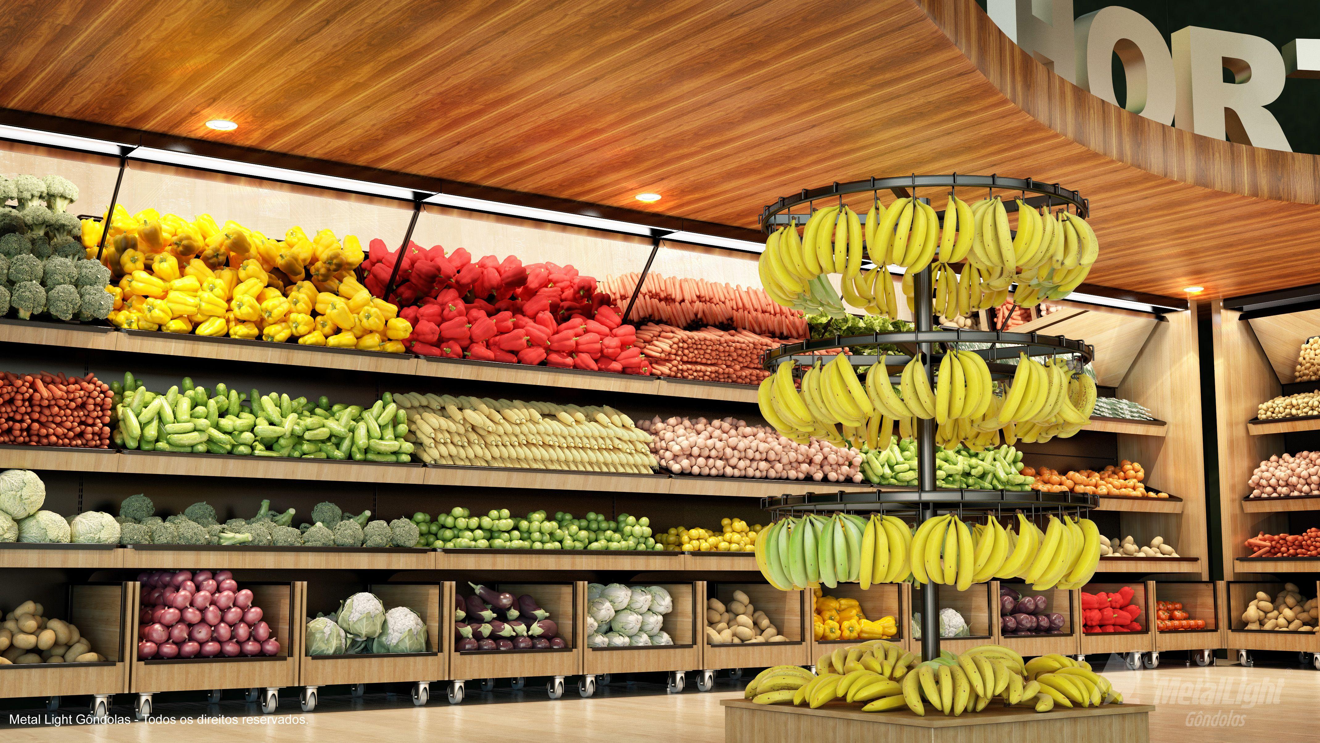 Gôndolas Bancas Vascas E Expositores Para Frutas Verduras E Hortifruti Em Geral Design Com A Res Loja De Fruta Expositores De Frutas Design De Supermercado