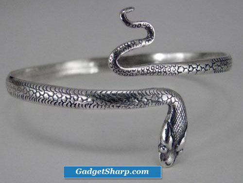 Snake Bangle Bracelet in Sterling Silver