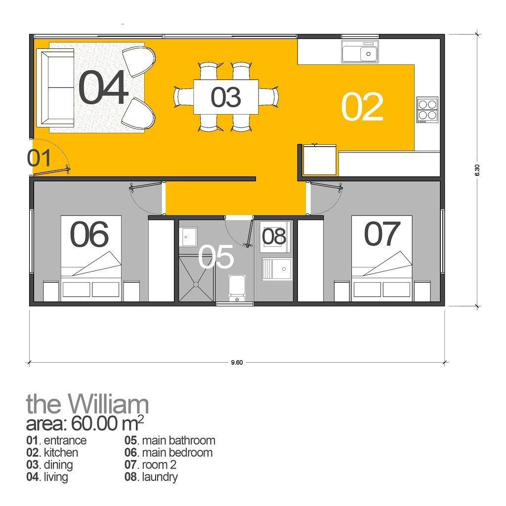 this 60sqm 3 bedroom each with built ins granny flat is perfect