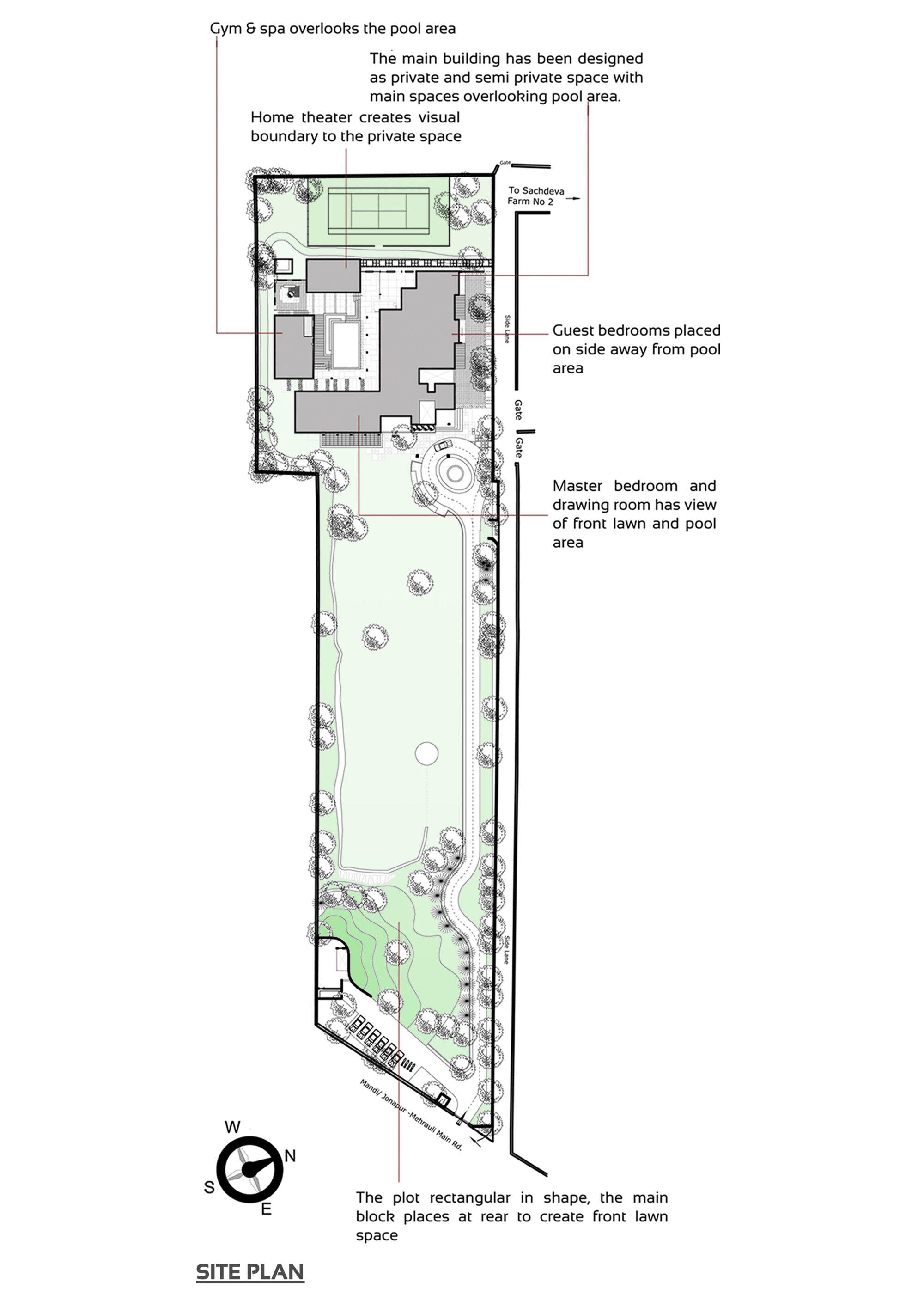 Galeria De Casa De Campo Sachdeva Spaces Architects Ka 16 Architect Site Plan Ground Floor Plan