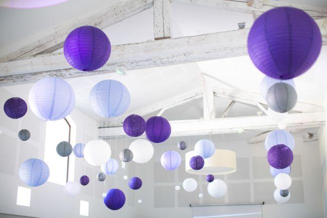 Boules chinoises lanternes japonaises papier argent gris violet