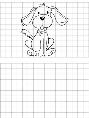 a happy dog sits on a backdrop of lined graph paper to help students learn to draw their own. Black Bedroom Furniture Sets. Home Design Ideas