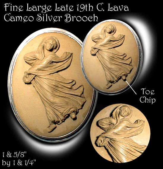 Large 19th C Lava Cameo Lady in Drapery Brooch ~ R C Larner Buttons at eBay  http://stores.ebay.com/RC-LARNER-BUTTONS